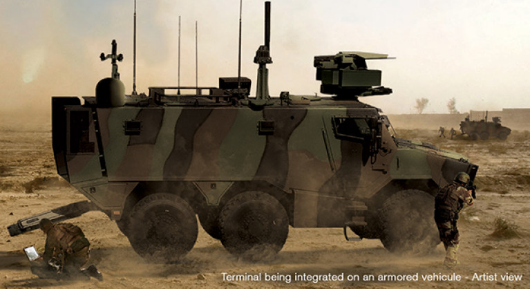 Terminal being integrated on an armored vehicule - artist view