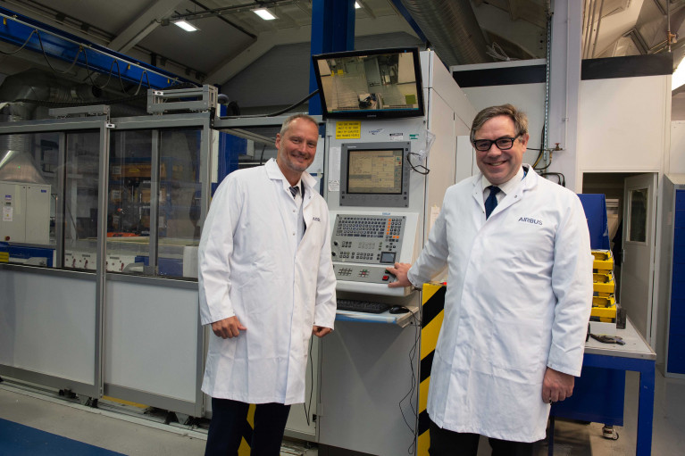 UK Minister for Defence Procurement starts Skynet 6A satellite production at Airbus in Stevenage