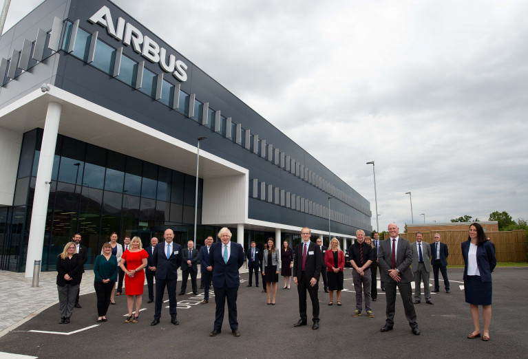 Prime Minister Boris Johnson opens new Airbus Defence and Space HQ in Stevenage
